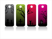 Set of four halloween tag — Stock Vector