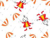 Rainy background with umbrella — Stock Vector