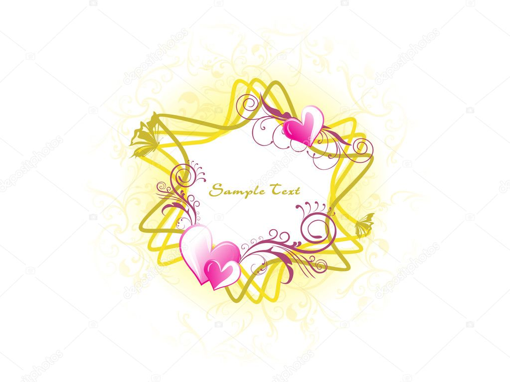 Backgorund with roamntic floral frame, illustration — Stock Vector #4104044