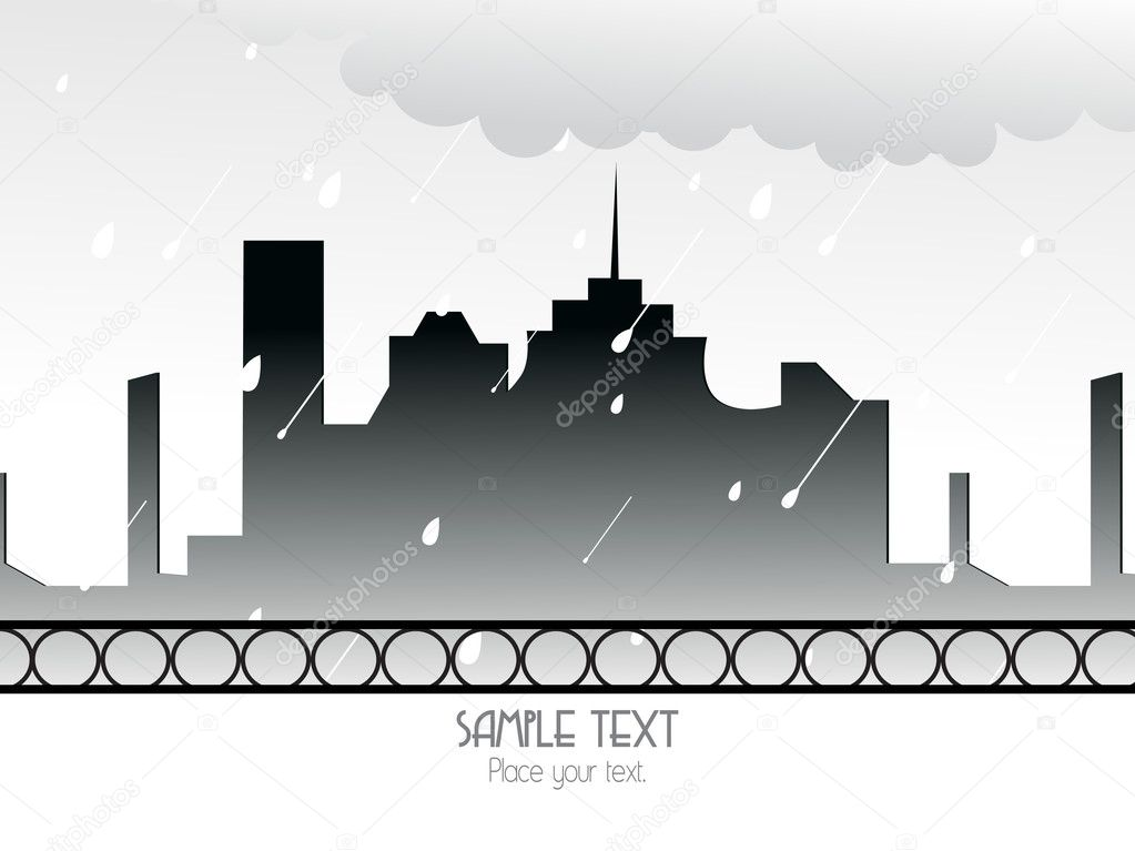 Abstract rain falling cityscape background — Stock Vector #4104106