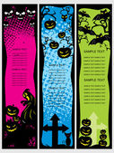 Background with set of halloween banner — Stock Vector