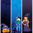 Set of scary halloween banner — Stock Vector