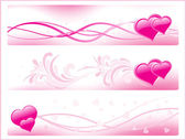 Set of three pink romantic banner — Stock Vector