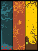 Background with set of halloween banner — Vector de stock