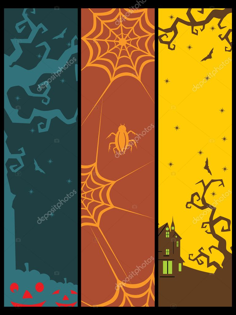Background with set of spooky halloween banner, illustration — Stock Vector #4120072