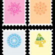 Stock Vector: Set of merry xmas stamp