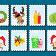 Set of merry xmas stamp — Stock Vector