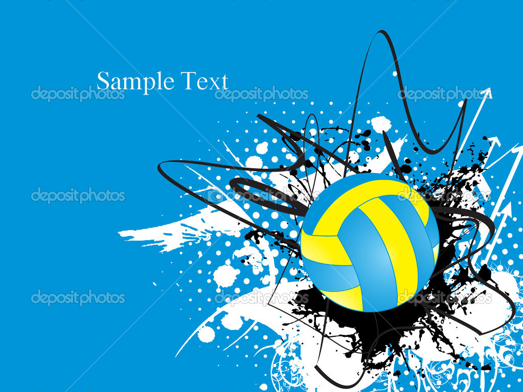 Abstract Design Of A Beach Volleyball Player Vector Image: Grungy Background With Volleyball, Arrowhead