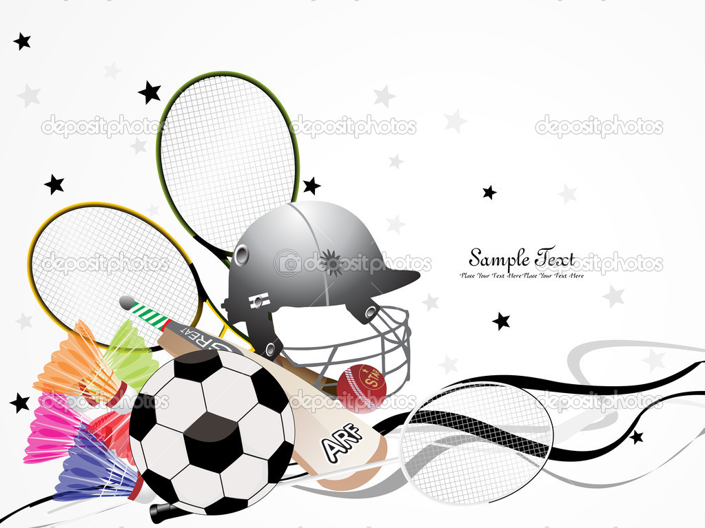 Background with collection of sports object  Stock Vector #4154354