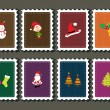 Set of merry xmas stamp - Stock Vector