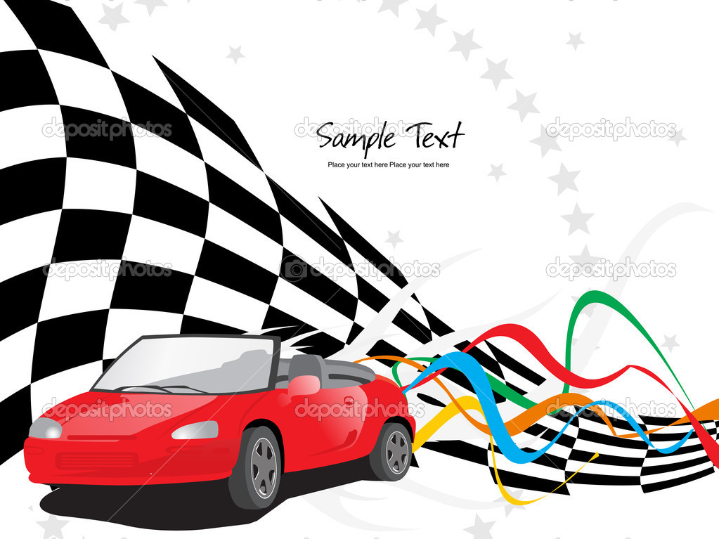 Chequered flag background with racing car and colorful stripes — Stock Vector #4169562