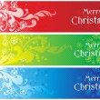 Stock Vector: Set of three merry xmas banner