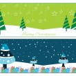 Set of two merry xmas banner — Stock Vector #4240073