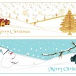 Stock Vector: Set of two merry xmas banner