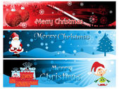 Set of three merry xmas banner — Vector de stock