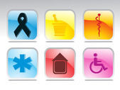 Set of glossy medical icons — Stock Vector