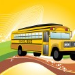 Background with school bus — Stock Vector
