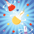Chemical formula background with laboratory flask — 图库矢量图片