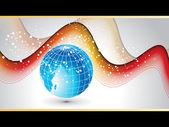 Arrière-plan coloré vague avec globe bleu — Vecteur