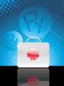 Antecedentes médicos con la caja de primeros auxilios — Vector de stock