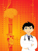 Fondo con el médico, el corazón y el cerebro humano — Vector de stock