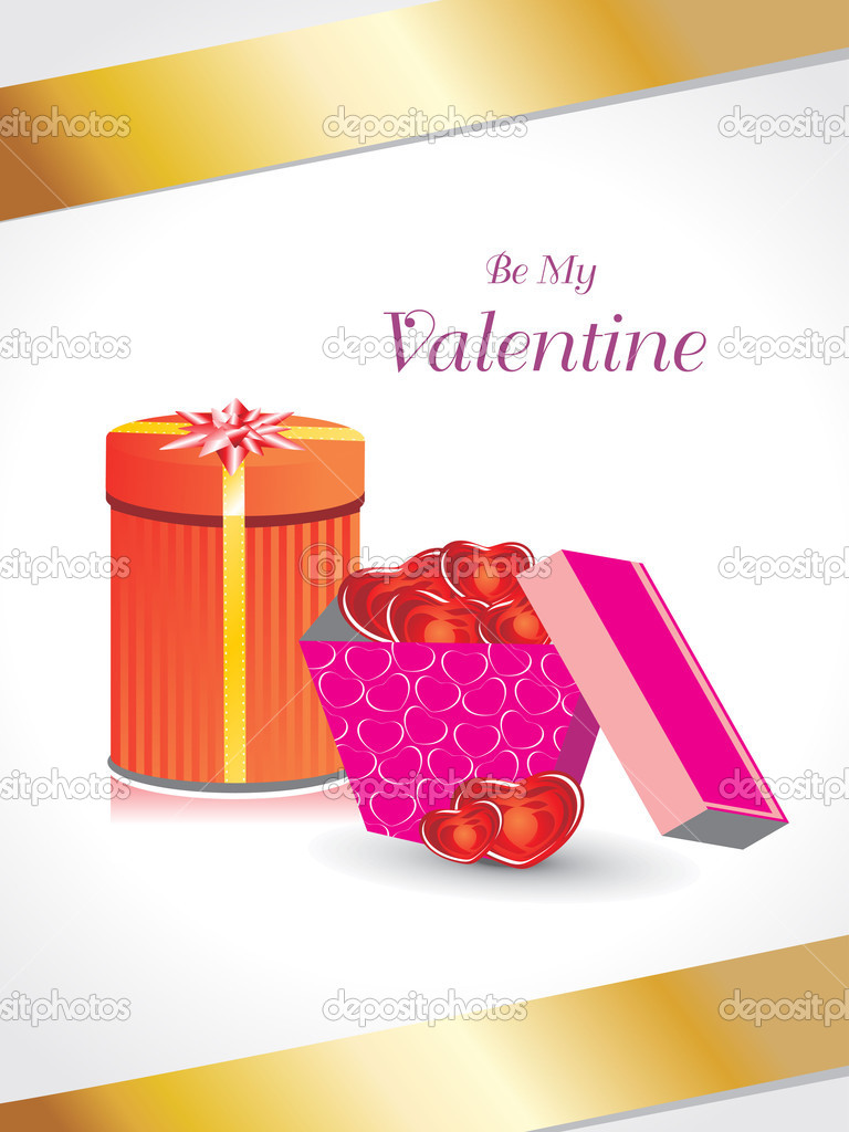 Romantic valentine day background with gift box — Imagen vectorial #4792187