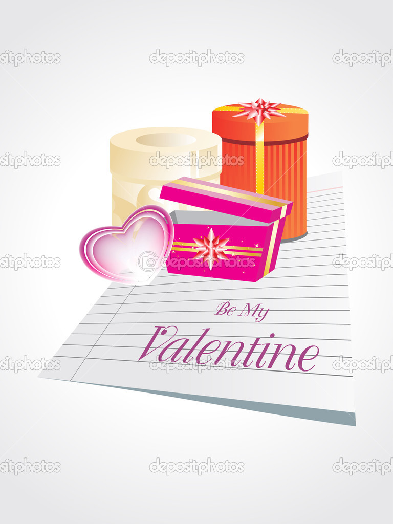 Background with paper, pink heart and colorful gift box — Векторная иллюстрация #4792452