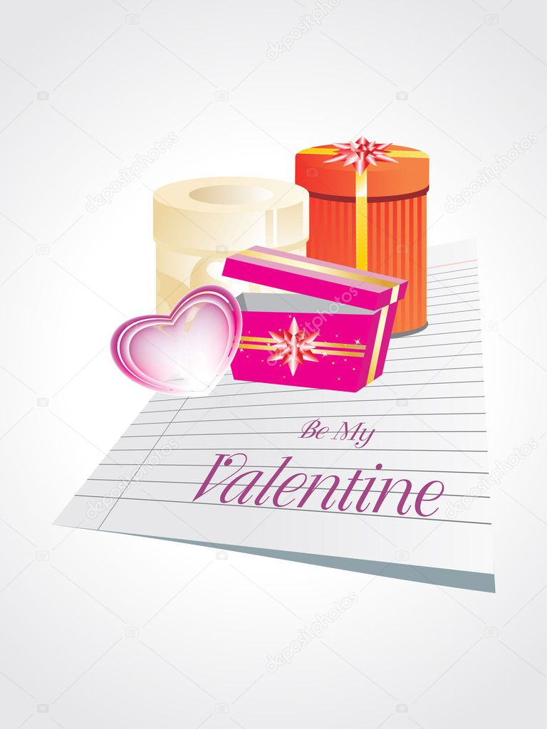 Background with paper, pink heart and colorful gift box — Stockvectorbeeld #4792452