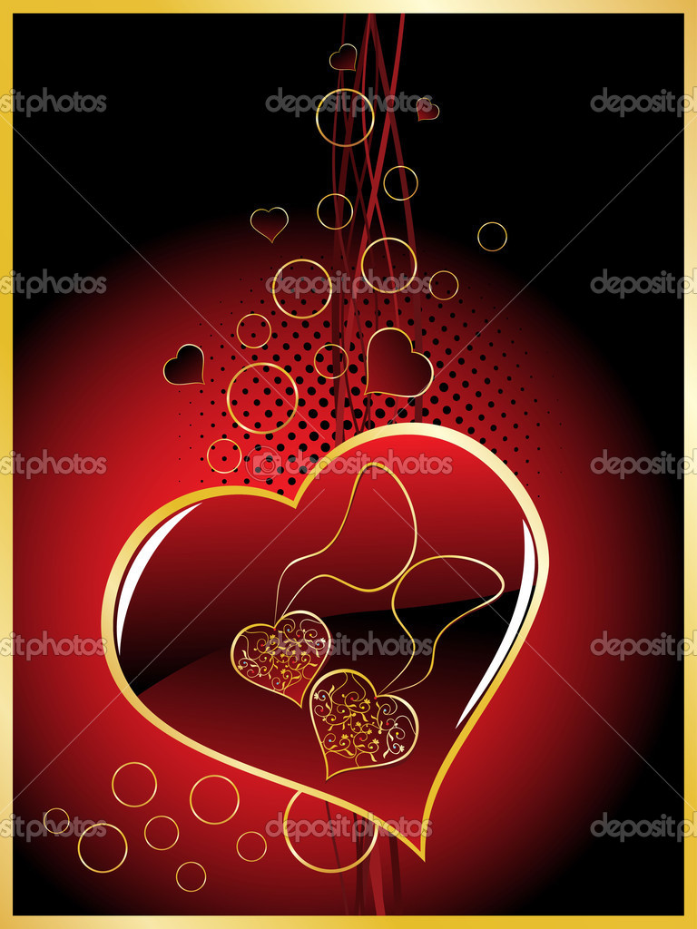 Abstract background with romantic maroon heart — Image vectorielle #4792455