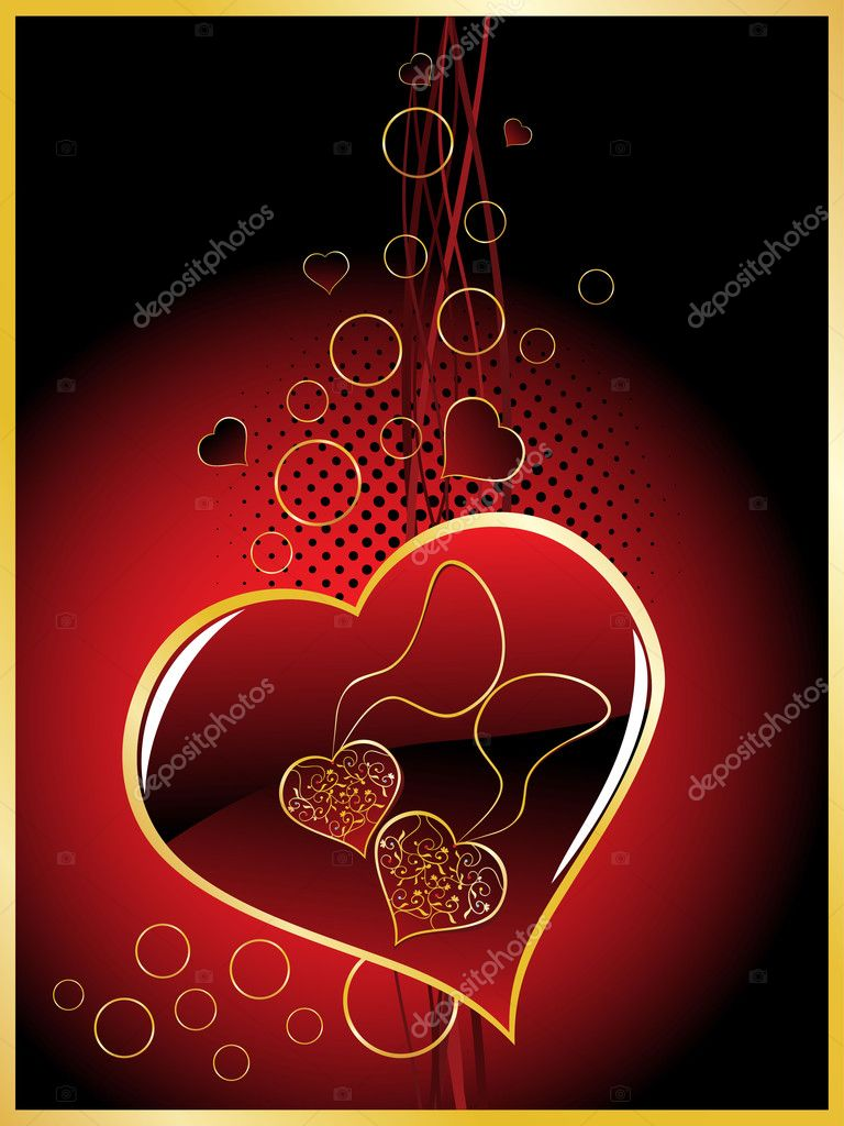 Abstract background with romantic maroon heart — Stock Vector #4792455