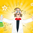 Science research background with scientist — Vettoriali Stock