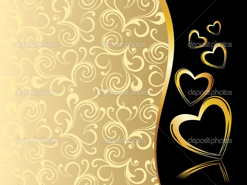 Creative floral pattern background with golden hearts — Vektorgrafik #4830800