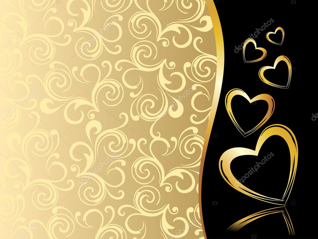 Creative floral pattern background with golden hearts — Grafika wektorowa #4830800