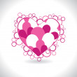 Background with isolated pink heart — Vettoriale Stock #4854670