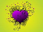 Grunge floral con corazón púrpura — Vector de stock