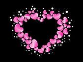 Bakgrund med rosa makro hjärta — Stockvektor