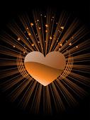 Pozadí s izolovanou hořčice srdce — Stock vektor