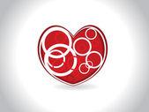 Fondo con corazón rojo aislado — Vector de stock
