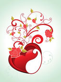 Background with floral decorated heart — Stock Vector