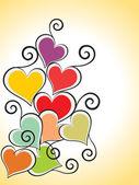 Arka planı renkli kalpli — Stok Vektör