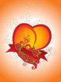 Fundo com coração decorado, fita — Vetorial Stock