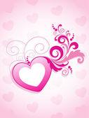 Pozadí s zdobené růžové srdce — Stock vektor