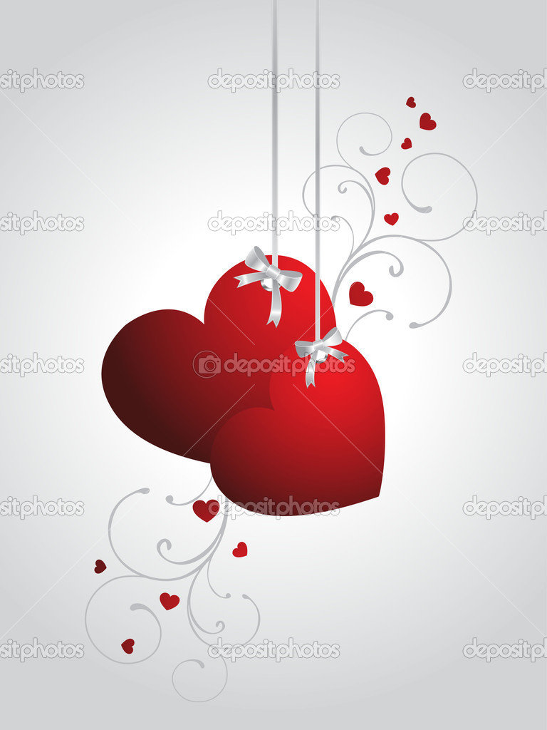 Abstract grey background with hanging decorated red hearts — Stock Vector #4854636
