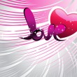 Background with romantic heart, love — Imagen vectorial