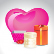 Stock Vector: Background with big pink heart, gift box