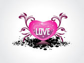 Grungy background with isolated pink heart — Stock Vector