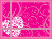Floral background with romantic heart — Vector de stock