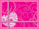Fundo floral com coração romântico — Vetorial Stock