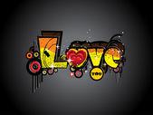 Amore sgangherata opera d'arte — Vettoriale Stock