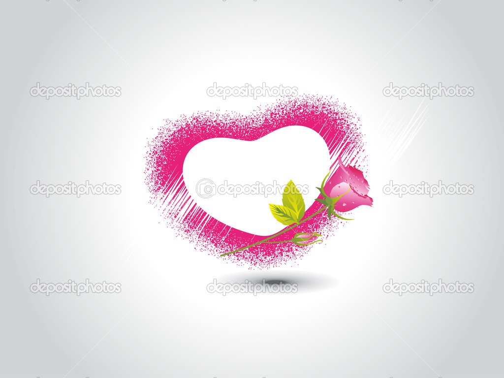 Abstract grey background with pink heart, red rose — Stock Vector #4881178